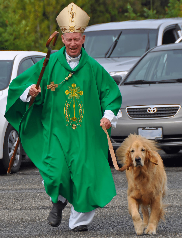 Bishop and Merlin Running